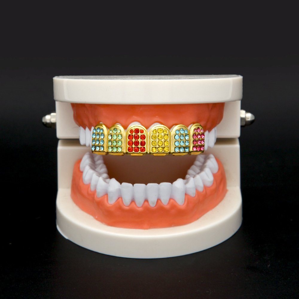 MCSAYS Micro Pave Teeth Grillz Iced-out Teeth Top Upper Hip Hop Colorful Rhinestones 6 Teeth Grillz by MCSAYS (Image #5)