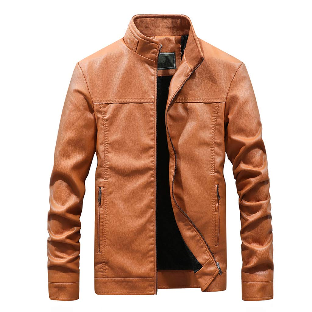 YKARITIANNA Men's Autumn Fashion Pure Color Stand Collar Imitation Leather Jacket Coat 2019 Summer Yellow