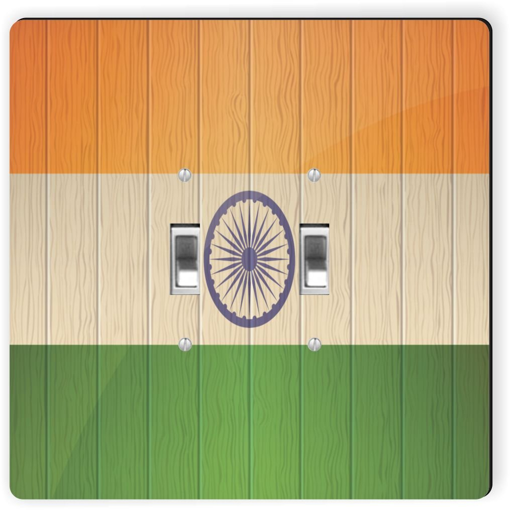 Rikki Knight 8594 Double Toggle India Flag On Distressed Wood Design Light Switch Plate