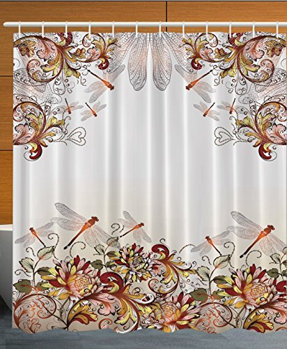 [Flower Decor Collection Dragonfly Floral Pastoral Wings for Women Girls and Teens Polyester Fabric Bathroom Shower Curtain Set with Hooks Brown White] (Vintage Pin Up Girl Costume Ideas)