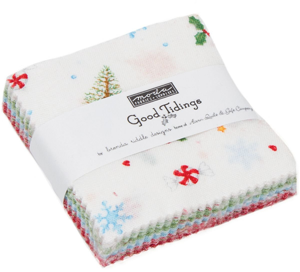 Good Tidings Mini Charm Pack by Brenda Riddle Designs; 42-2.5 Inch Precut Fabric Quilt Squares United Notions 18660MC