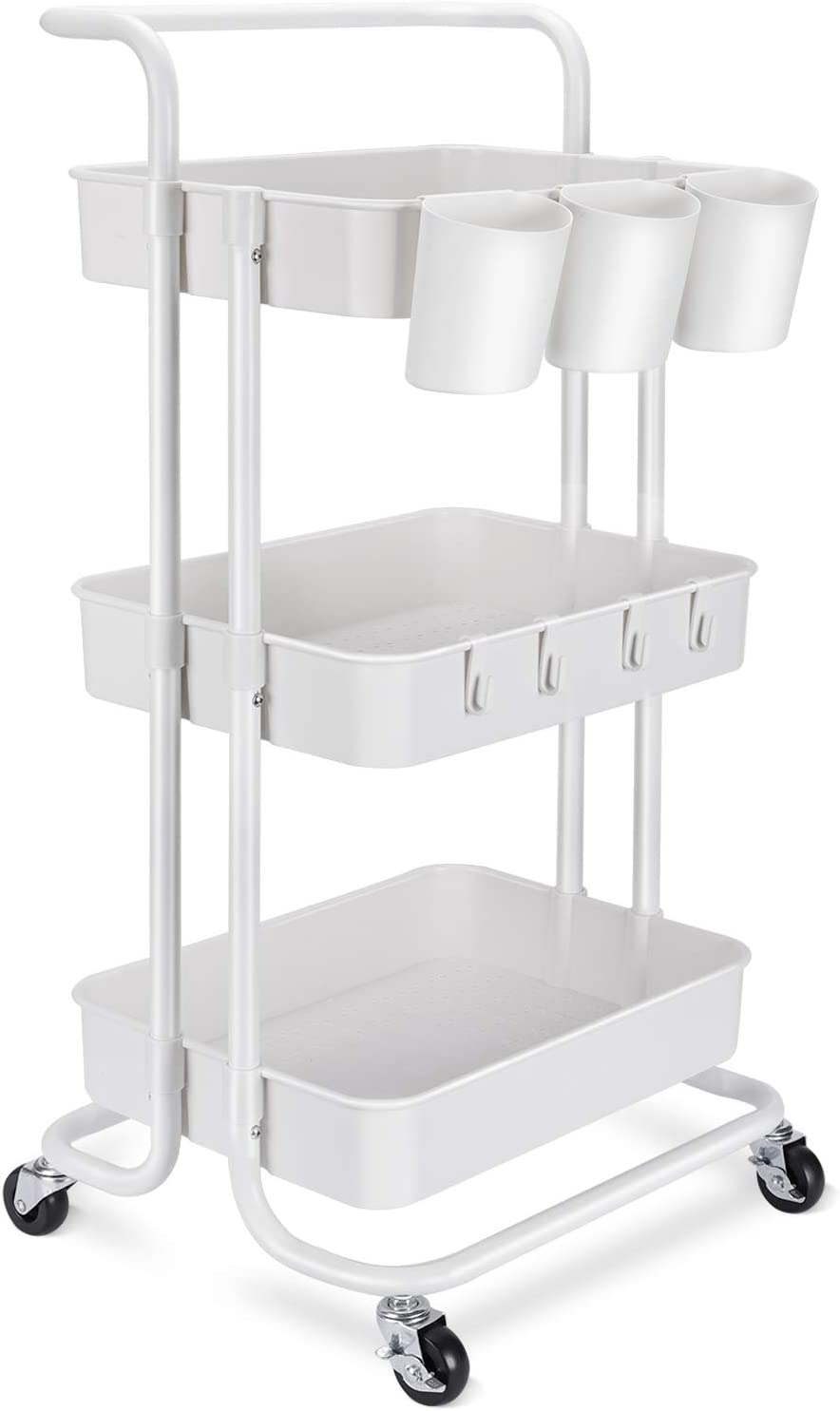 3-Tier Rolling Mobile Utility Cart with Hanging Cups & Hooks & Handle Multifunctional Organizer Storage Trolley Service Cart with Wheels Easy Assembly for Office, Bathroom, Kitchen (White)