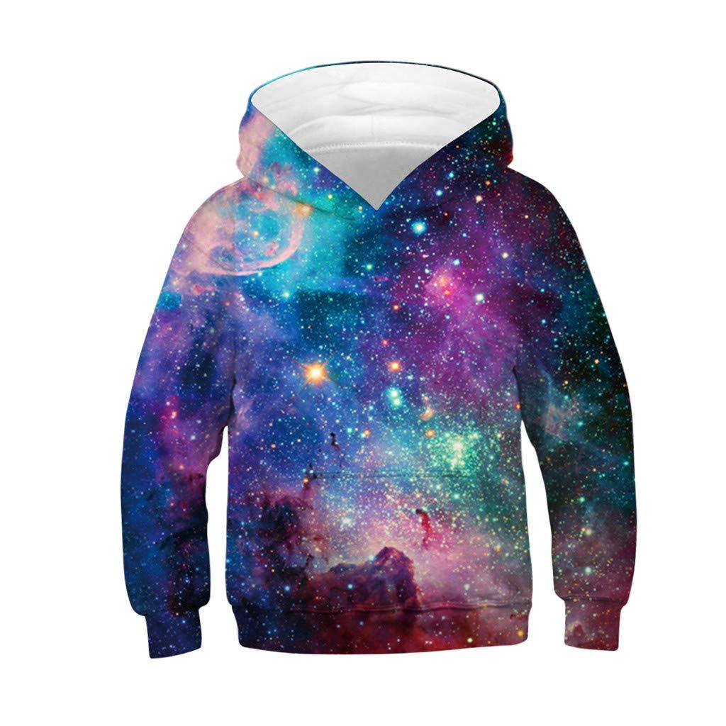 Armilum Baby Products Kids Pullover Hoodie,Teen Kids Girl Boy 3D Galaxy Fleece Print with Pocket Cartoon Sweatshirt Pullover Hoodie for 4-13 Years