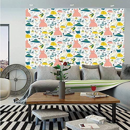 - Heels and Dresses Huge Photo Wall Mural,Women Girls Clothes and Accessories Pattern Summer Fashion,Self-Adhesive Large Wallpaper for Home Decor 100x144 inches,Coral Petrol Blue Yellow