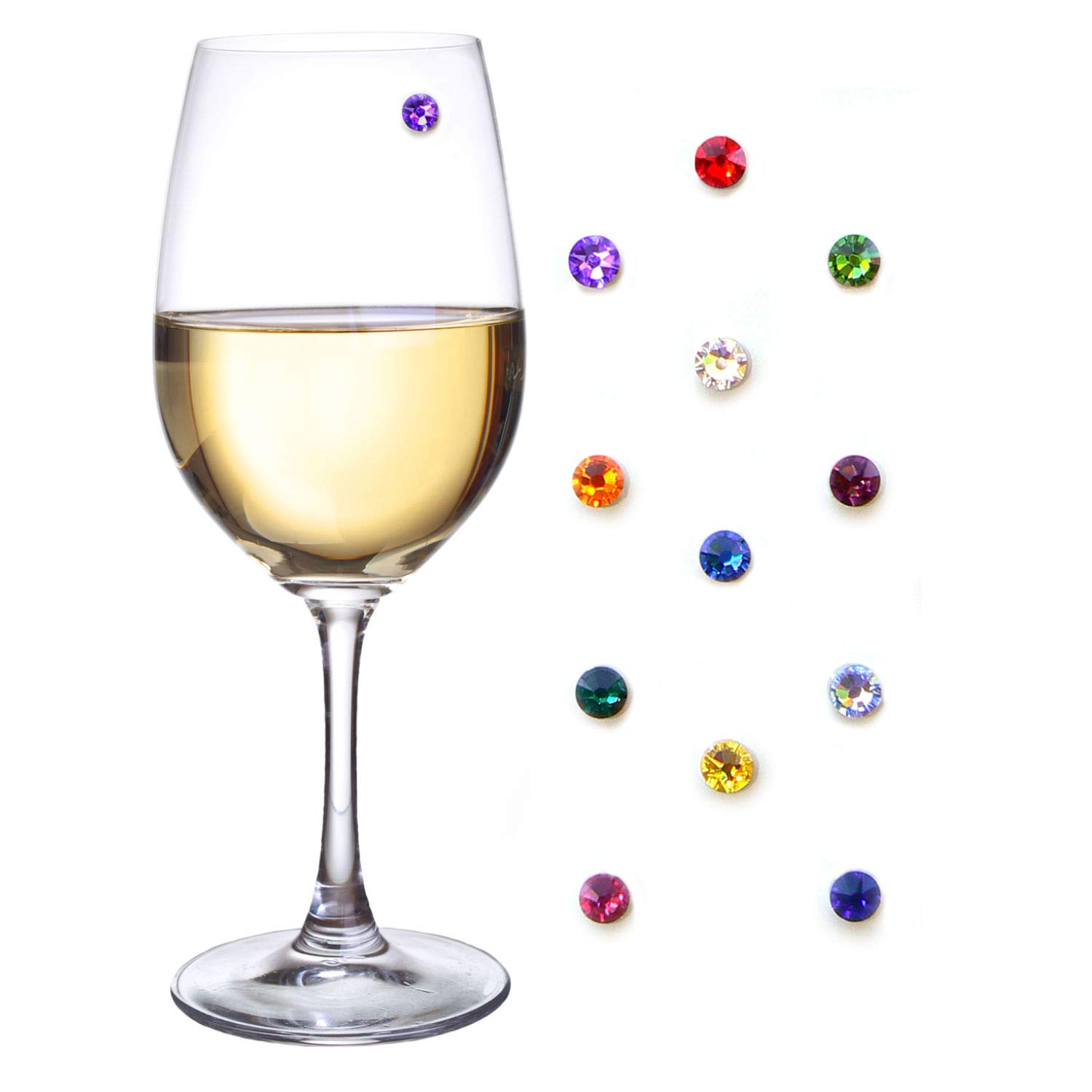 Swarovski Crystal Magnetic Wine Glass Charms Set of 12 Glass Markers that Work on Stemless Glasses - Gift/Storage Box Included by Simply Charmed by Simply Charmed