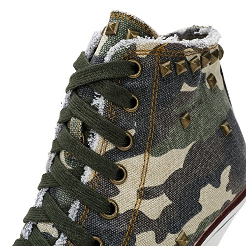 Sneakers A Lace Bootie up Rivet Camo Heel Ankle fereshte Women's Stiletto High Canvas 0qZxBn