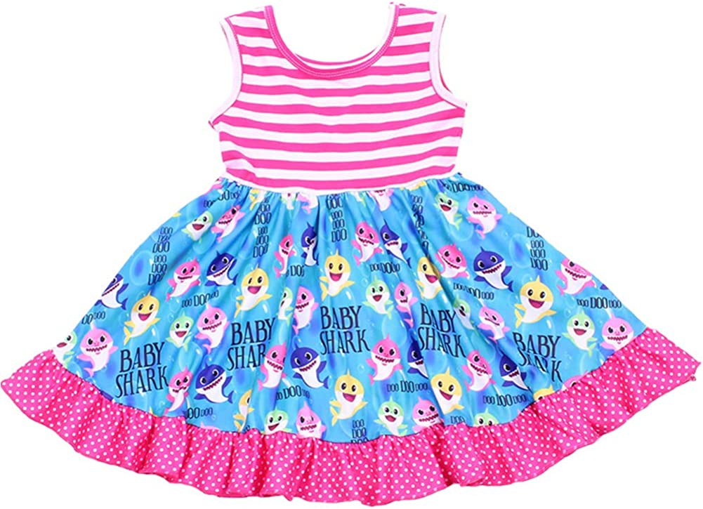 Baby Girls Twril Dress Colorful Baby Shark Printed Sleeveless Pink Striped Clothing Milksilk