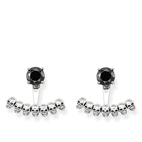 7236a6bbe THOMAS SABO Women ear studs Ear Jackets skull Ear studs 925 Sterling Silver,  Blackened H1907-698-11: Amazon.co.uk: Jewellery