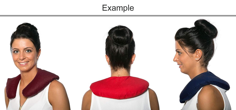 Cojín de nuca 30x33cm rojo con corazones | Saco térmico de semillas | Cojín cuello para microondas y congelador | Huesos de cerezas