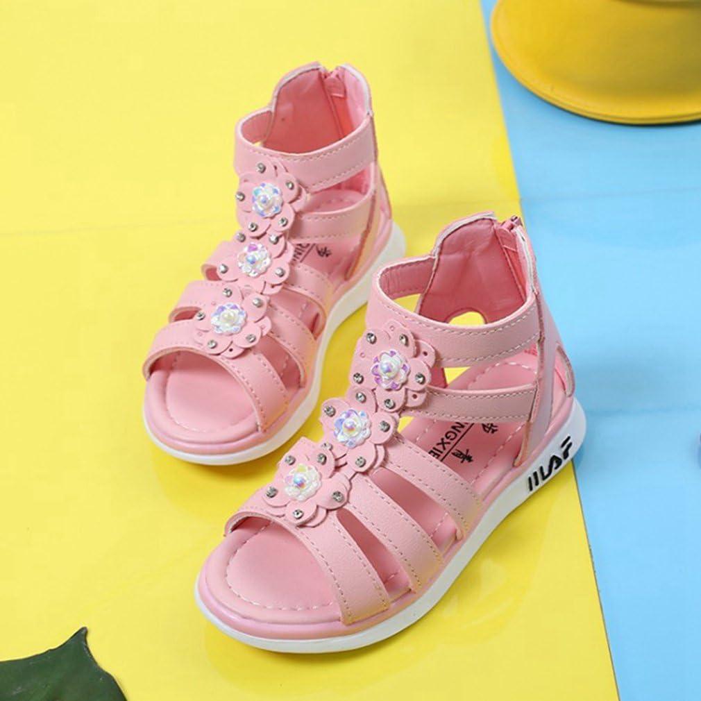 Pink CYBLING Girls High Top Back Zipper Flower Casual Summer Beach Gladiator Sandals Toddler//Little Kid