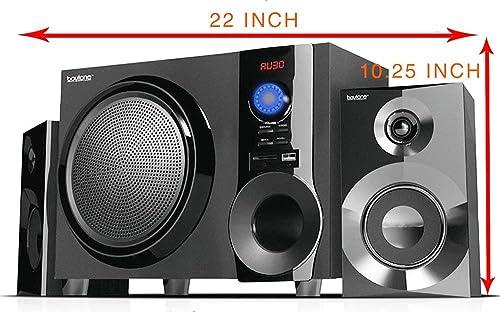 Boytone 2.1-Ch Wireless Bluetooth Shelf Speaker System Powerful Sound with FM Radio Remote Control, Aux-in Port, USB SD for Phone s, Laptops, 30 W