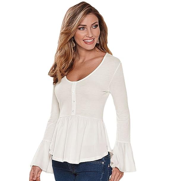 WanYang Moda Mujer O Cuello Camisa Manga Larga Pulóvers Tops Blusa Sudadera Elegante Slim Casual Shirt: Amazon.es: Ropa y accesorios
