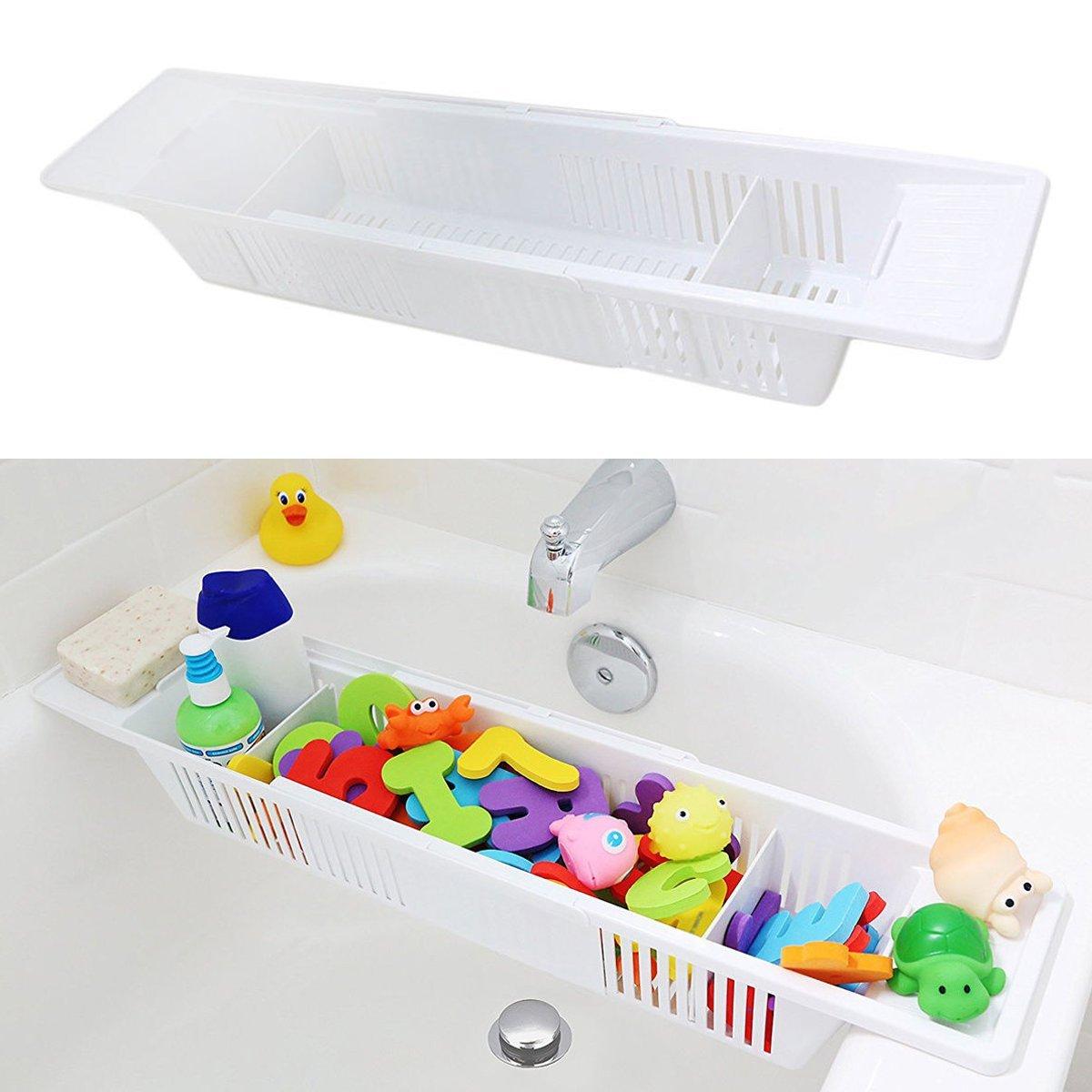 Aissimio Adjustable Bath Toy Organizer Storage Basket Bath Caddy Kids Bath Tub Shower Toy Organizer Holder White 57X14X10cm