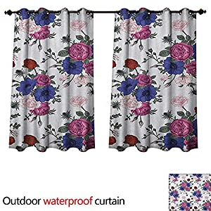 Anemone Flower Home Patio Outdoor Curtain Bouquets of Roses Anemones Eustoma Colorful Corsage Bedding Plants Design W55 x L45(140cm x 115cm) 49