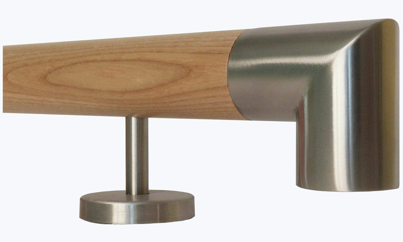Enden = Halbkugel gefr/äst L/änge 30-500 cm aus einem St/ück//zum Beispiel L/änge 100 cm mit 2 gerade Halter Esche Holz Treppe Handlauf Gel/änder Griff gerade Edelstahlhalter
