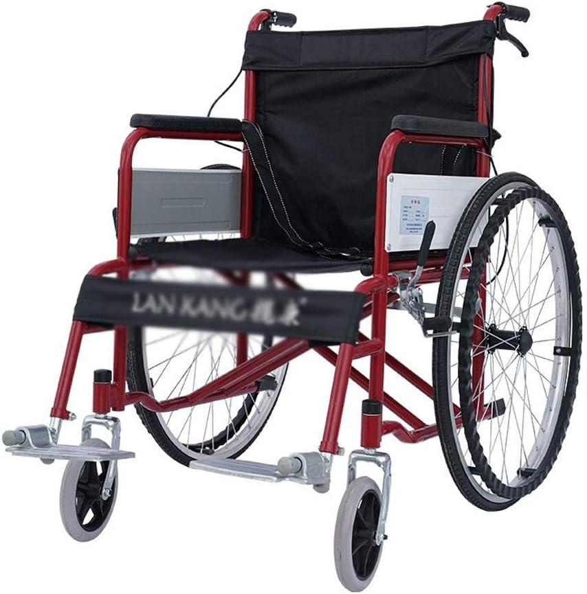 輸送用車椅子 ウォーカー- 手動車椅子スチール折りたたみ軽量シニア車椅子 (色 : Red)
