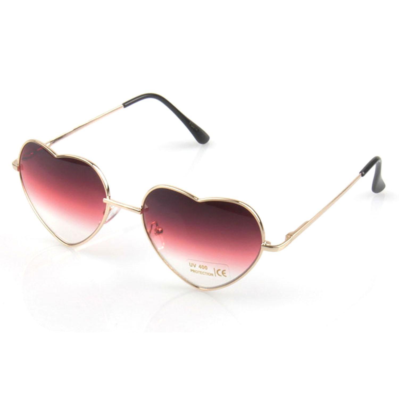 Retrò Vintage A forma di cuore UV400 Gradiente Colorato Occhiali da sole per Donne Oro Rosa
