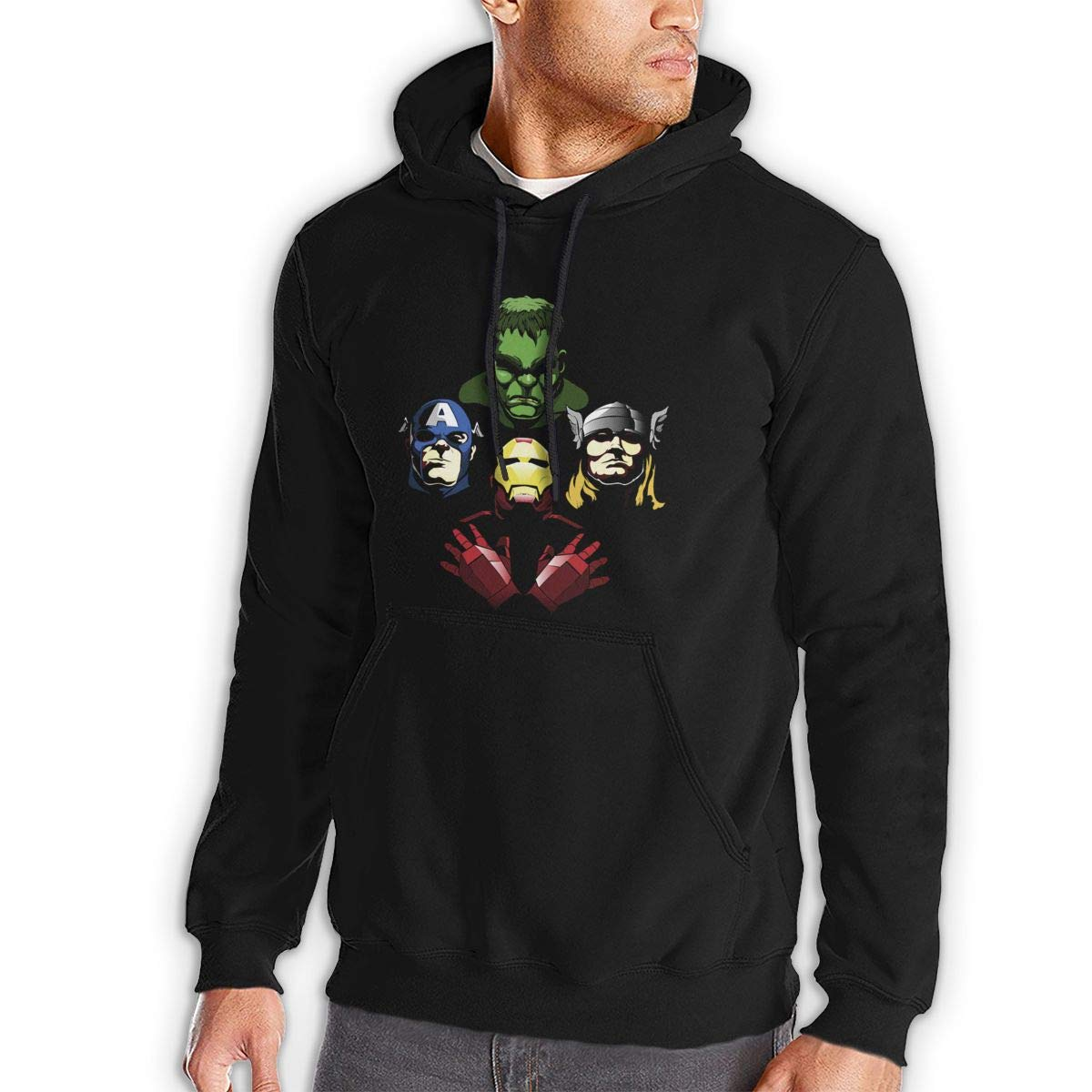 Avengers Rhapsody,Autumn and Winter Sweater Mens Hooded Jacket Kangaroo Pocket Sports Hoodies Black