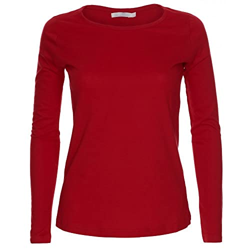 Camiseta de manga larga para mujer, cuello redondo, diseño liso. Tallas S-XL