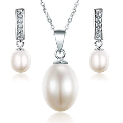 dc4f50961 Sreema London Quality Freshwater Cultured Pearl & Zirconia Necklace & Earring  Set - Matching Freshwater Pearl