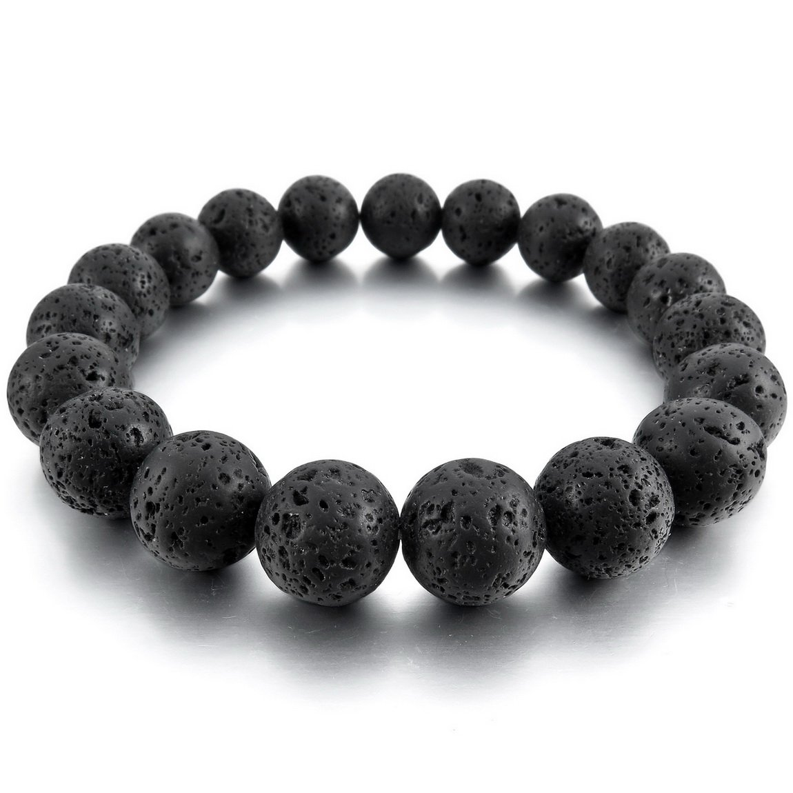 INBLUE Men, Women's 12mm Energy Bracelet Link Wrist Simulated Lava Rock Black Buddha Mala Bead INBLUE Jewelry mnb1082