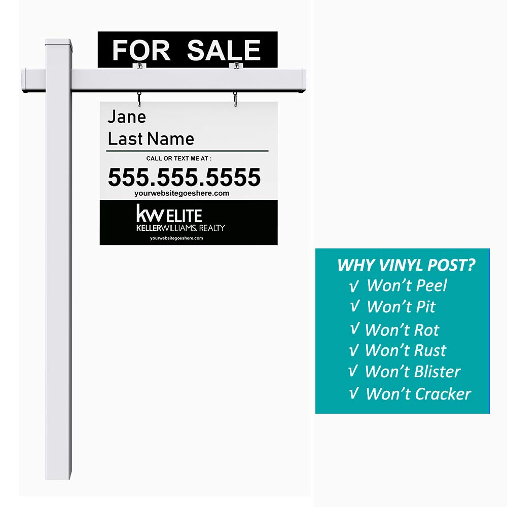 kdgarden Vinyl PVC Real Estate Sign Post 6ft. Tall (4''x 4''x 72'') Realtor Yard Sign Post for Open House and Home for Sale, 36'' Arm Holds Up to 24'' Sign, White with Flat Cap(No Sign) by kdgarden (Image #4)