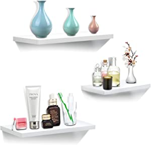 White Floating Shelves Wall Mounted Set of 3, Wood Wall Shelves Decoration for Bathroom Bedroom Kitchen Farmhouse Office, Hanging Wall Shelf Decor Display Ledge Storage Rack for Solid/Brick Wall