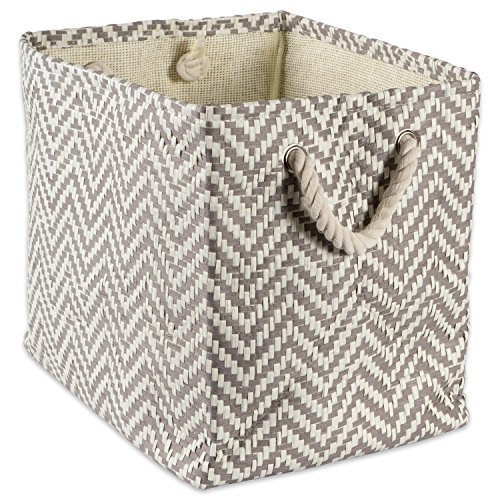 "DII Woven Paper Storage Basket or Bin, Collapsible & Convenient Home Organization Solution for Office, Bedroom, Closet, Toys, & Laundry (Large – 17x12x12""), Gray Chevron - Metallic Office Bookcase"