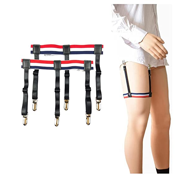 db5537c14bc Generic 1 Pair Mens Adjustable Invisible Shirt Stay Shirt Garter Belt  Accessories (Red and White Style B)  Amazon.in  Clothing   Accessories