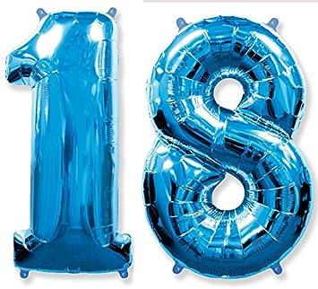 FIESTADEKOR (Oferta Antes 11,90€) Globo número 18 para Fiestas de cumpleaños, XXL Medida 100 cm, inflándolo con Helio flotará Durante 5/6 días. (Azul)