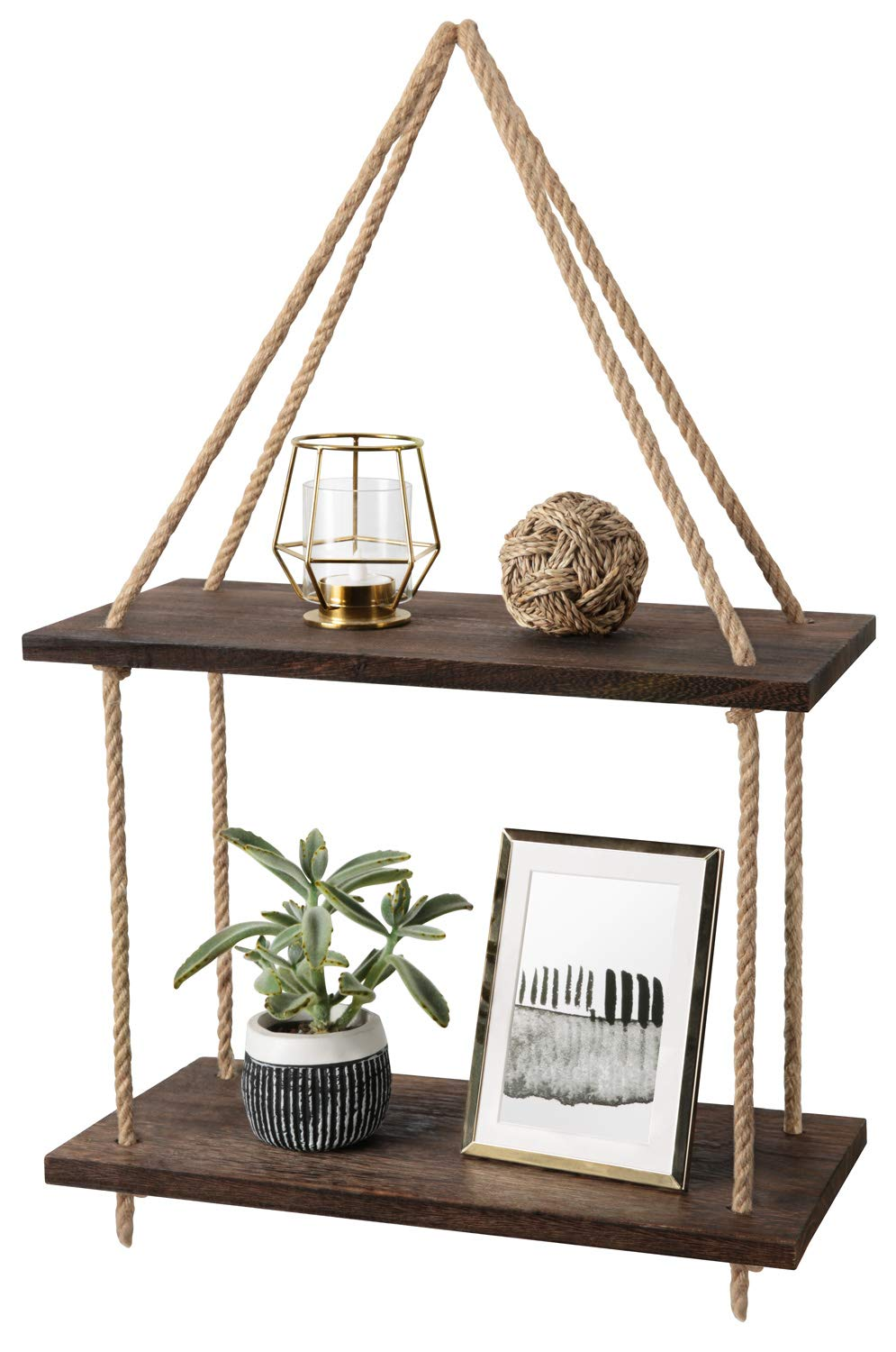 Mkono Wood Hanging Shelf Wall Swing Storage Shelves Jute Rope Organizer Rack, 2 Tier
