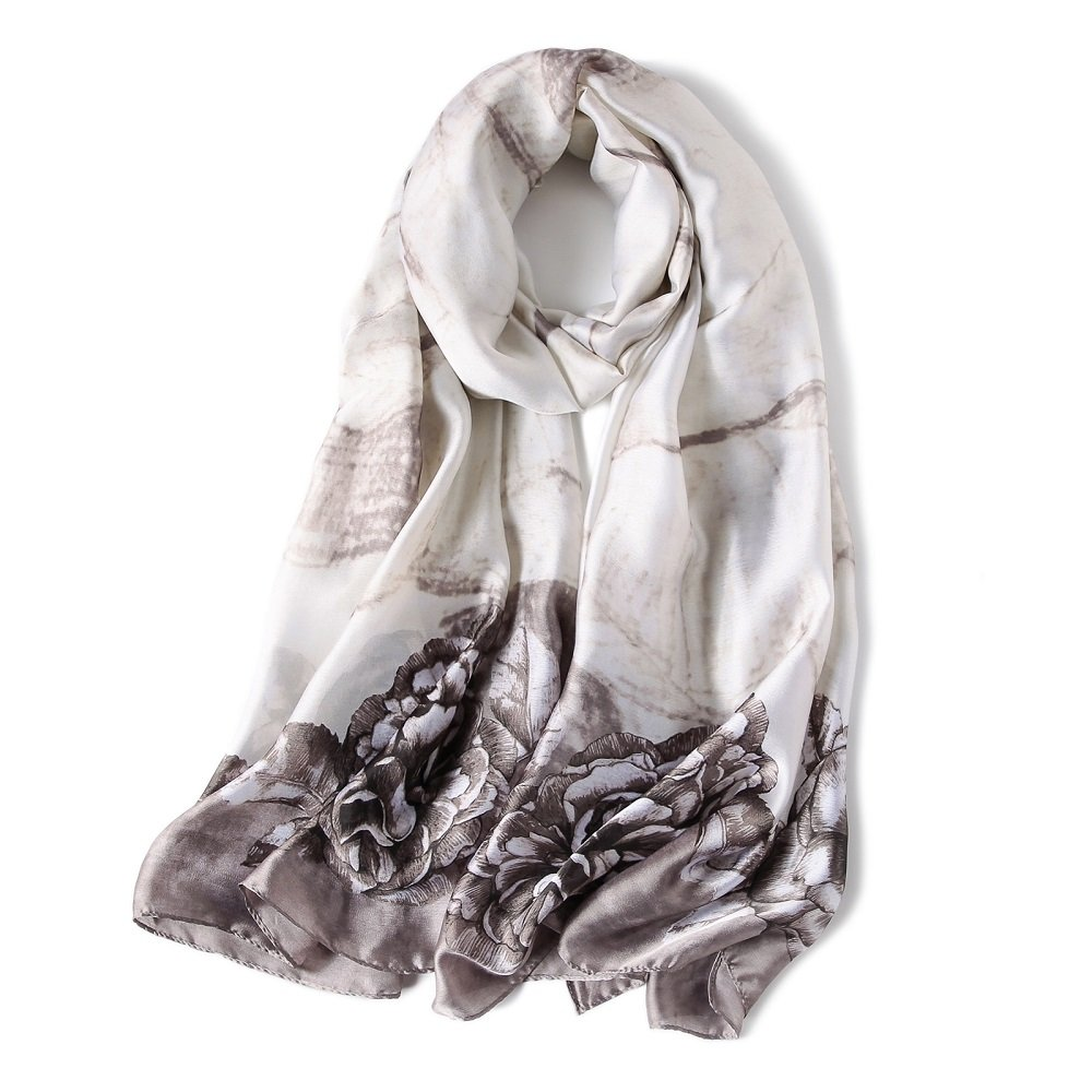 Silk Feeling Scraf Women's Summer Long Scarves Shawl Wrap Pashmina Hijab (Pattern G Grey)