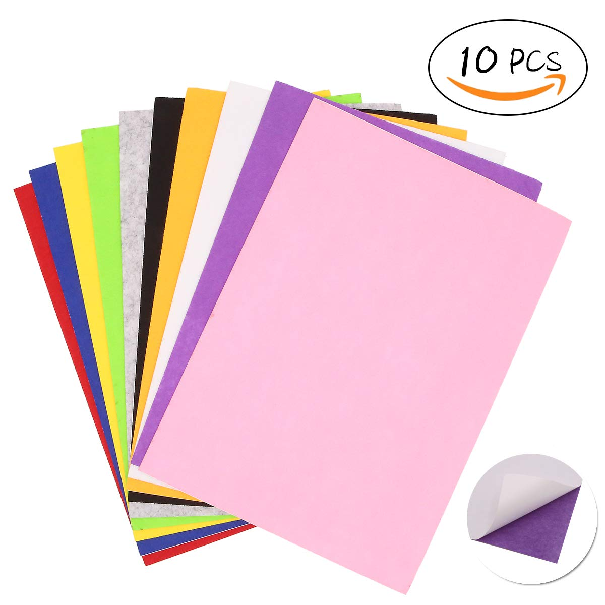 LFS A4 Felt Sheets, Self Adhesive, Assorted Colours, for Arts and Crafts, 10 Pcs