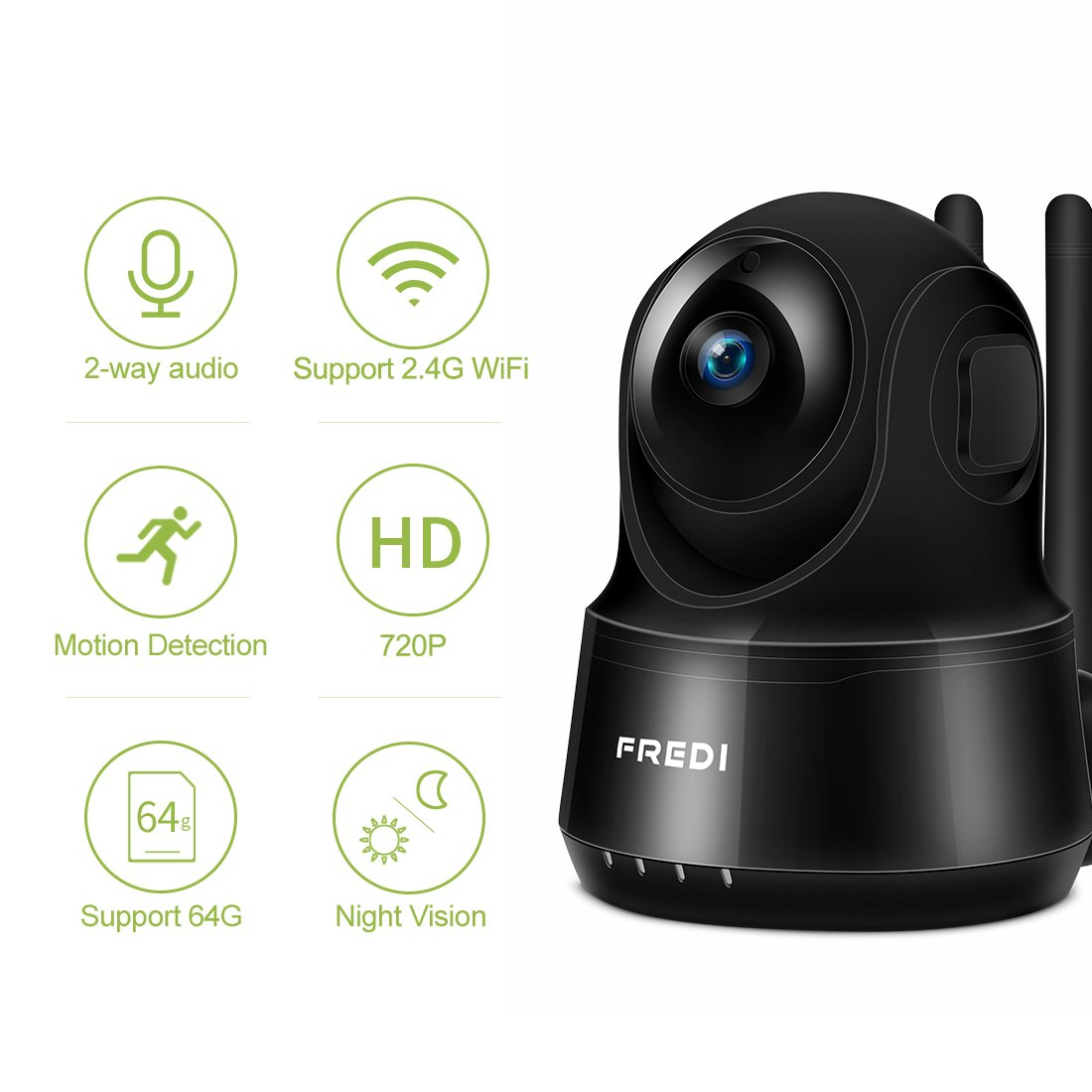 Two-Way/Audio Black IR Night/Vision 720P HD Security Camera Surveillance/Dome Camera with Motion/Detection FREDI Wireless WiFi IP Camera P2P for Baby Monitor Nanny Pet Dog Camera Pan//Tilt