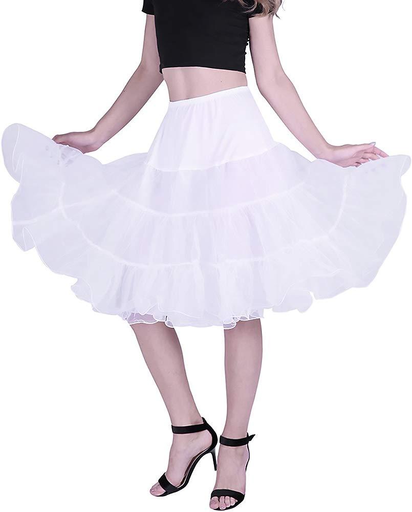 Paymenow Womens 50s Vintage Petticoat Skirts Half Slip Crinoline Tutu Underskirts Vintage Dress