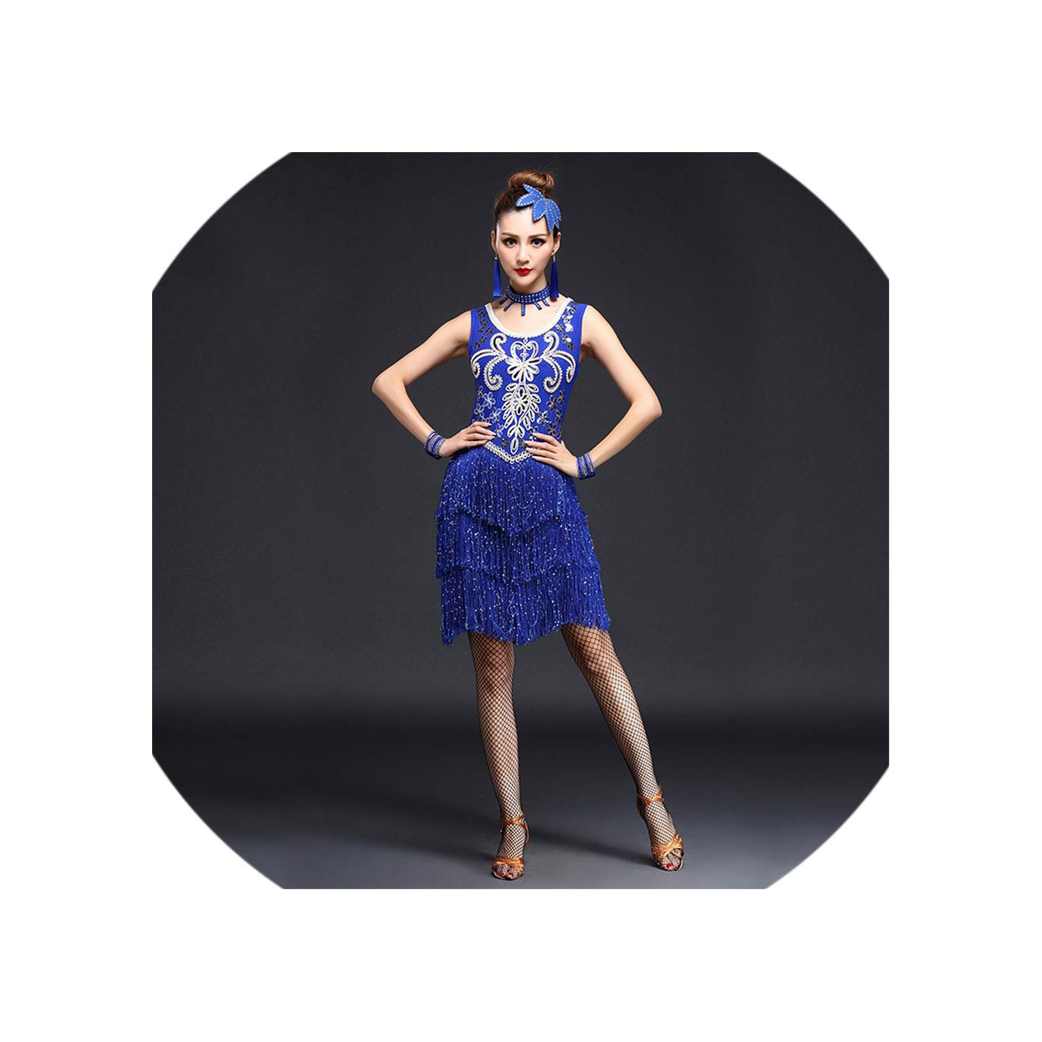Women Girls Sequin Fringe Tassel Skirt Latin Tango Ballroom Salsa Dance Dress,Blue,L by Colourful Day Dance Dress