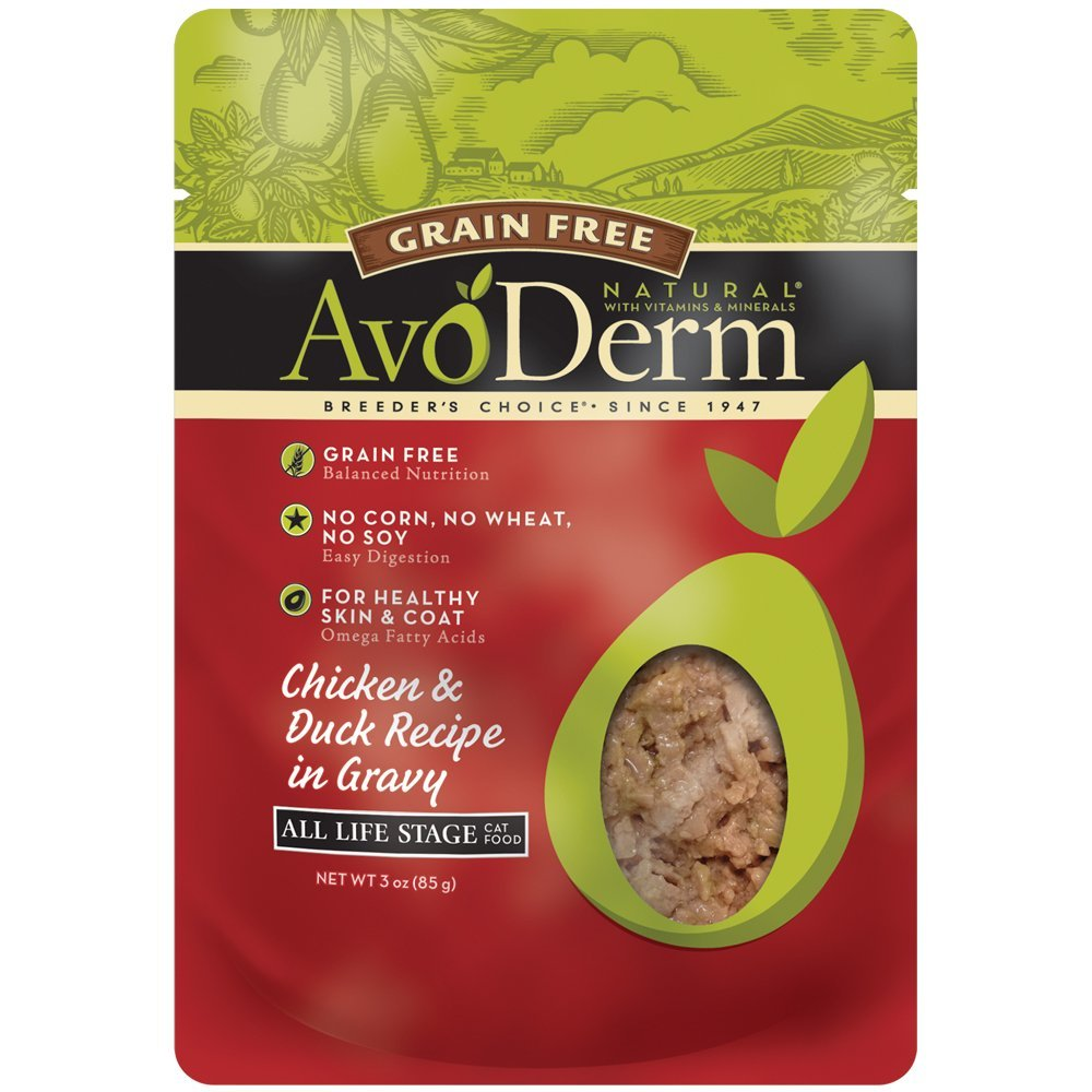Avoderm Natural Grain Free Chicken & Duck Recipe In Gravy Pouch Wet Cat Food, 3-Ounce Pouch, Case Of 24 by AvoDerm
