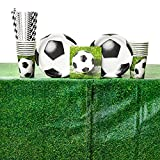 Sports Fanatic Soccer Birthday Party Supplies Pack for 16 Guests: Straws, Dessert Plates, Beverage Napkins, Table Cover, and Cups