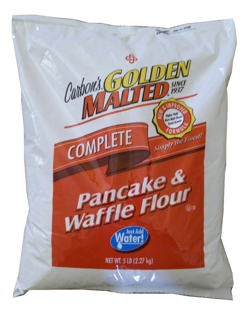 Carbon's Golden Malted Pancake and Waffle Flour Mix - 5 Pound Bag - Complete Mix - Just Add Water