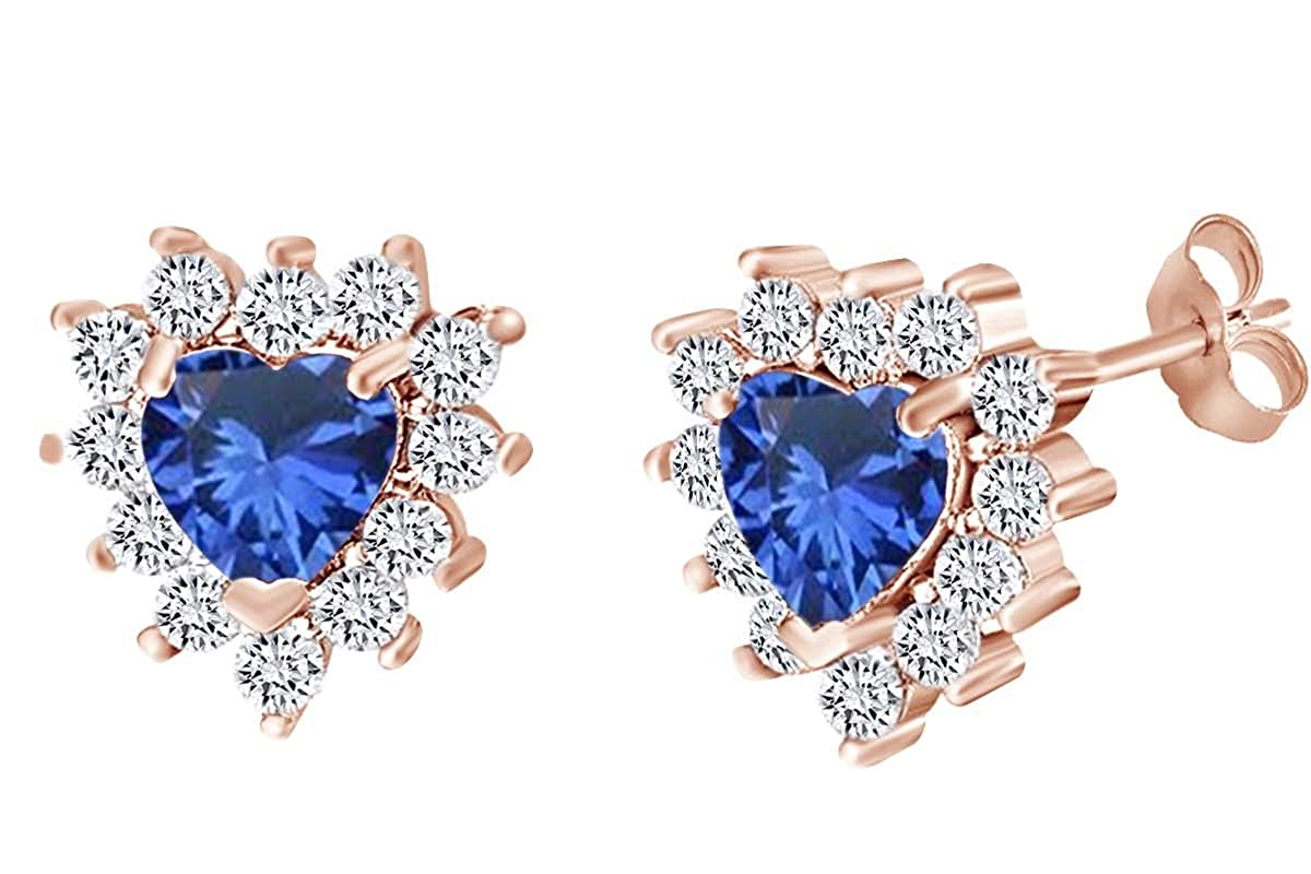 Simulated Blue Sapphire /& White Cubic Zirconia Stud Earring In 14k Gold Over Sterling Silver