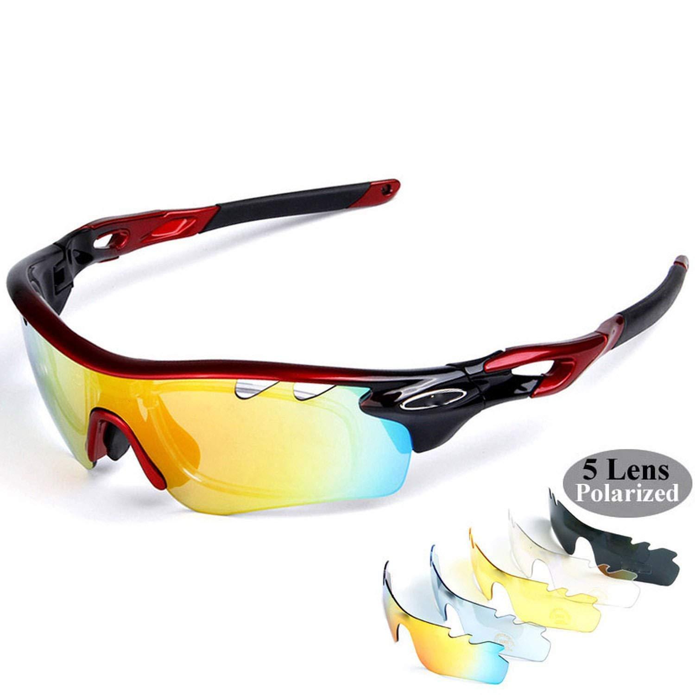 83706ab18011 Amazon.com: 5 lens Polarized Cycling Sunglasses Sport Cycling Glasses Mens  Mountain Bike Goggles UV400 Cycling Eyewear Bicycle Glasses,black red:  Clothing