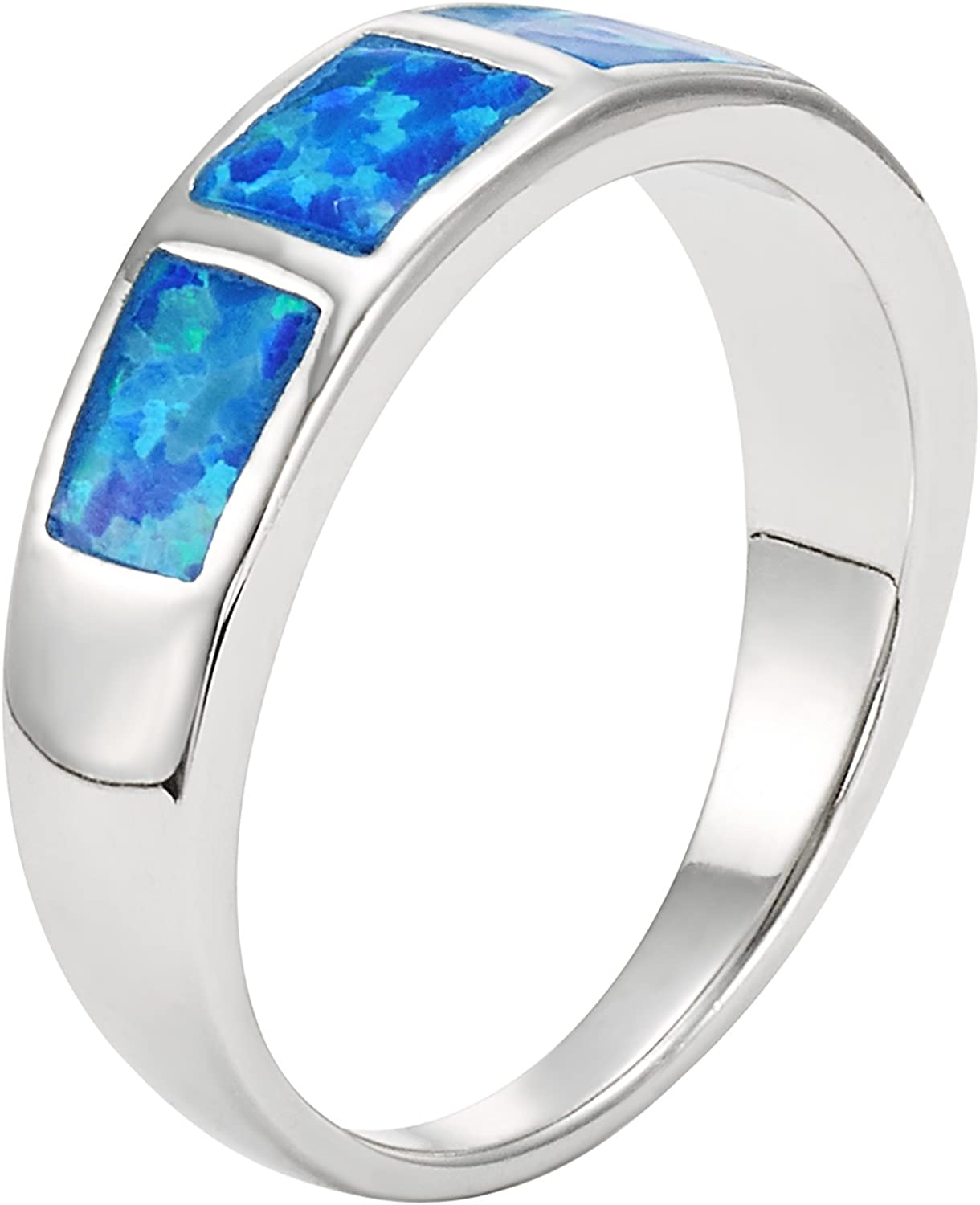 925 STERLING SILVER Blue lab FIRE OPAL Ring Rhodium #164 Details about  /Size 8