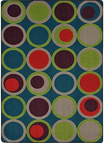 Joy Carpets Kid Essentials Circle Back Teen Area Rugs, 129-Inch by 158-Inch by 0.36-Inch, Tropics