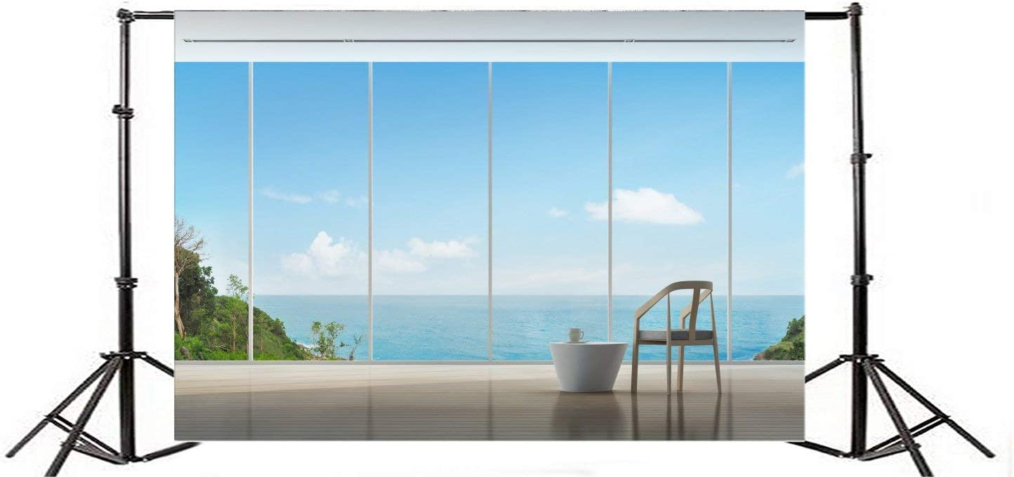 10X8FT Sea View Room Backdrop Seaside Living Room French Window Interior Backdrops for Photography Blue Sky White Cloud Island Summer Vinyl Photo Background Boys Lover Portraits Studio Props