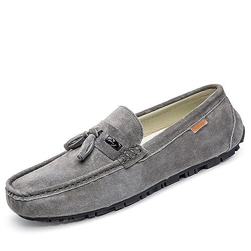 Xinke Slip on Mocasines de los Hombres de Cuero de la PU Gamuza británica Borla Color Puro Mocasines Barco de conducción de Moda Zapatos Casuales: ...