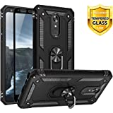 TJS Phone Case for LG K40/K12 Plus/X4/Solo LTE/Harmony 3/Xpression Plus 2, with [Full Coverage Tempered Glass Screen Protector][Impact Resistant][Defender][Metal Ring][Magnetic Support] Armor (Black)