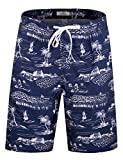 ELETOP Men's Swim Trunks Quick Dry Board Shorts Beach Holiday Swimwear Print Bathing Suits Hawaii Navy EHS001-M