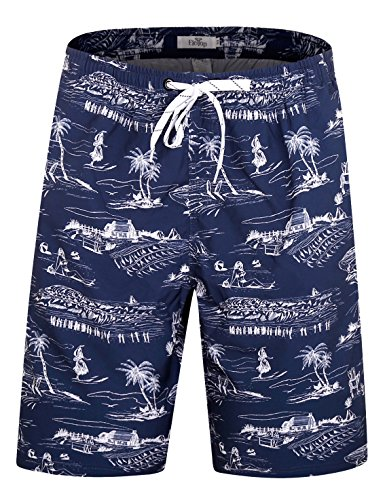 ELETOP Men's Swim Trunks Quick Dry Board Shorts Beach Holiday Swimwear Print Bathing Suits Hawaii Navy EHS001-L