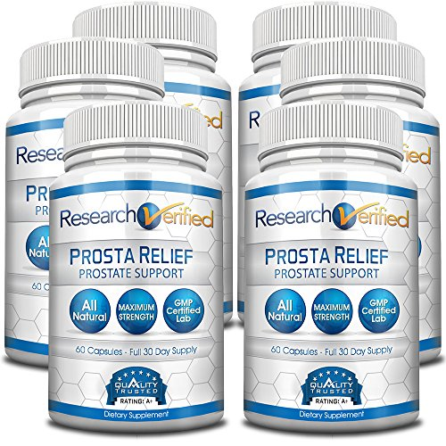 Research Verified Prosta Relief - Best Saw Palmetto Prostate Health; Improves Bladder & Urinary Health, Sexual Drive and Performance; Pure Natural Ingredients; 6 Bottles (6 Months Supply) by Research Verified