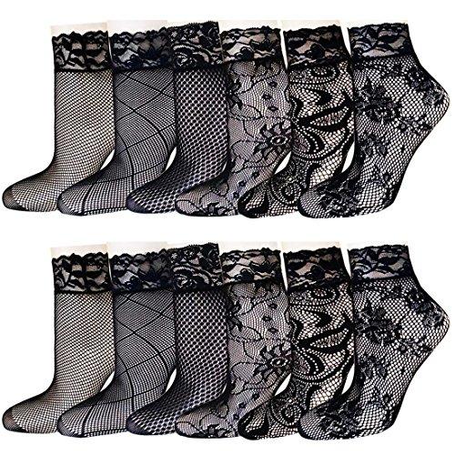 (Women's 12 Pairs Fishnet socks Lace Sheer Patterned Ankle Socks Black)
